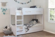 Skylar Kids White Wooden Bunk Bed with Extra Pull Out Bed -Single 3ft