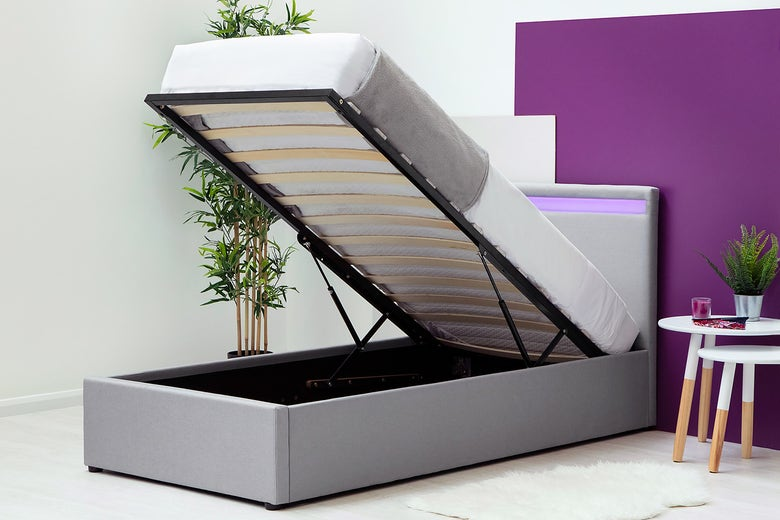 Stanlake Storage Ottoman Single Bed Frame with LED Light Headboard