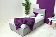 Stanlake LED Headboard Grey Storage Ottoman Bed Frame Single / Double / King