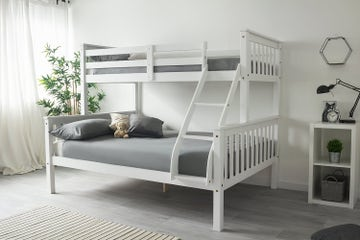 Taylor White Wooden Triple Sleeper Bunk Bed