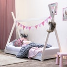 Kids White Wooden Teepee Tent Bed - Single 3ft