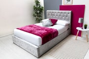 Thorpe silver crushed velvet ottoman storage bed king 5ft