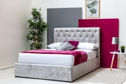 Thorpe silver crushed velvet ottoman storage bed double 4ft6