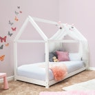 Kids Treehouse White Wooden House Bed - Single 3ft