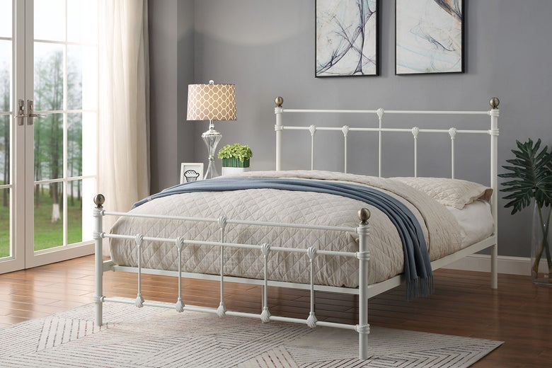Trentham white metal double bed frame