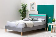Wentworth Grey Fabric Upholstered Modern Bed Frame with LED Light Headboard Double 4ft6
