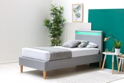 Wentworth Grey Fabric Upholstered Modern Bed Frame with LED Light Headboard Single 3ft