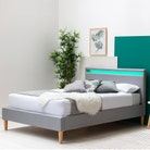 Wentworth LED Headboard Grey Fabric Bed Frame - Single / Double / King