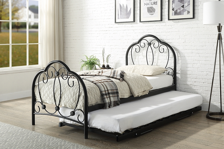 Whitby Vintage Style Black Metal Bed Frame with Guest Trundle Bed Single 3ft