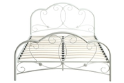 Whitby Vintage Style White Metal Double Bed Frame 4ft6