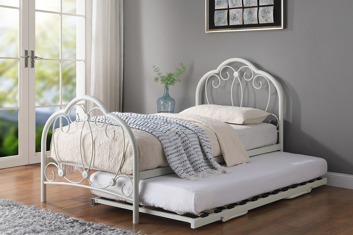 Whitby Metal Bed Frame With Guest Trundle Bed White Single 3ft Crazypricebeds Com