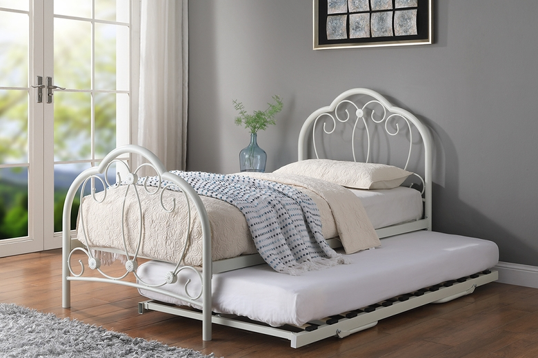 Whitby Vintage Style White Metal Bed Frame with Guest Trundle Bed Single 3ft