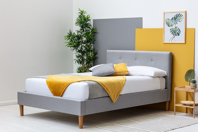 Wootton Scandi Style Upholstered Grey Bed - Double 4ft6