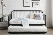 York Modern Industrial Black Metal Day Bed with Guest Bed Trundle Single 3ft